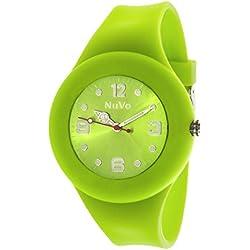 Nuvo - NU13H20 - Unisey Armbanduhr vom Armband abtrennbar - Grünes Zifferblatt - Grünes austauschbares Armband aus Silikon - Modisch - Elegant - Stylish