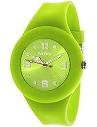 NuVo - NU13H20 - Montre Mixte détachable du bracelet  - Cadran Vert - Bracelet Silicone Vert changeable