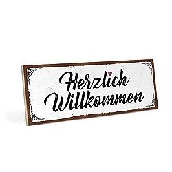 Holzschild mit Spruch - HERZLICH WILLKOMMEN - Vintage Shabby Deko-Wandbild/Türschild 28 x 10 cm Mit Hanfseil