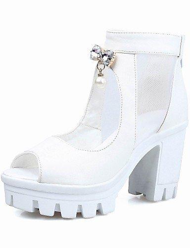 LFNLYX Chaussures Femme-Extérieure / Habillé-Noir / Blanc-Gros Talon-Talons / Bout Ouvert-Sandales-Similicuir Black