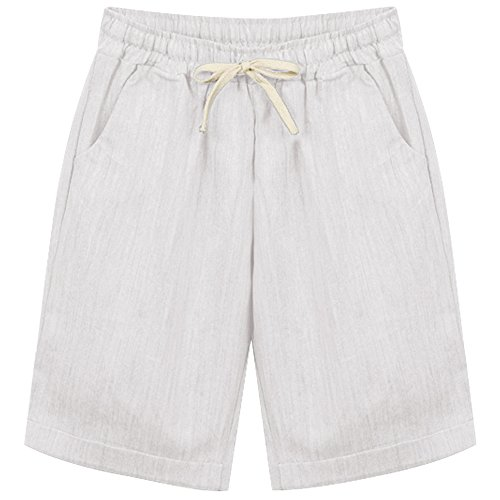 Women's Summer Casual Linen Cotton Retro Loose Bermuda Beach Stretch Baggy Shorts with Pocket