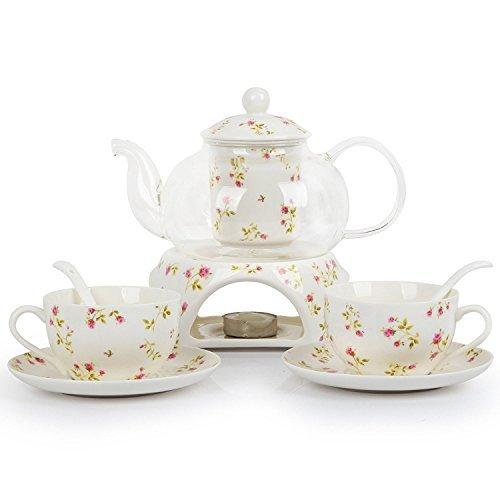6 Stück Europäischen Modern Florales Tee Set, Beheizte Glas Teekanne, Bone China Tee Set Service Kaffee Set, Für Geschenk Und Haushalt, Hochzeit