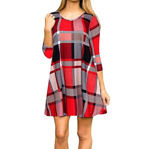 DRESS_start Kleid Damen Winter Plaid Print Scoop Neck Casual Swing Tunika Minikleid Mit Taschen Kleid 60er Jahre Kleid Weihnachten (M, Rot) (Scoop Neck Langarm Kleid)