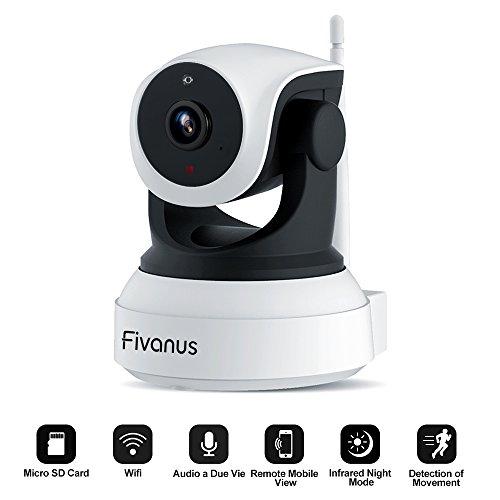 Wlan IP Kamera, Fivanus 720P Wireless HD WiFi Überwachungskamera mit 350°/90°Schwenkbar Bewegungserkennung, Zwei-Wege-Audio, Nachtsicht, unterstützt Fernalarm und Mobile App Kontrolle Security Alarm (Wireless-cam Beste)