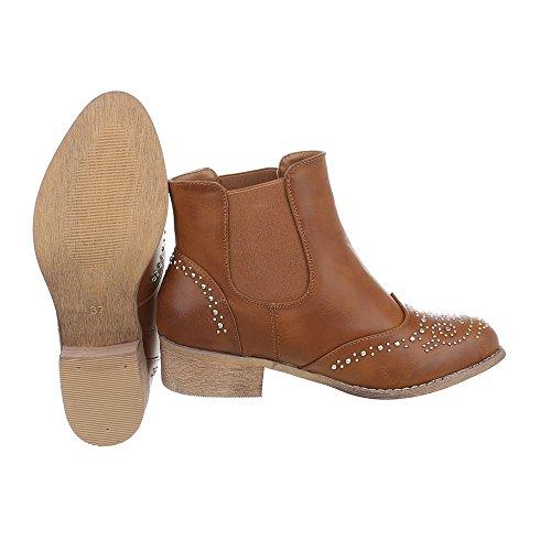 Ital-design Chelsea Boots Scarpe Da Donna Chelsea Boots Block Heel Block Heel Cammello