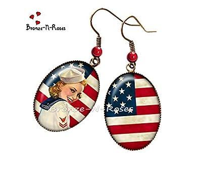 """Boucles d'oreilles """" I love America """" cabochon rouge drapeau États-Unis Pin-up verre"""