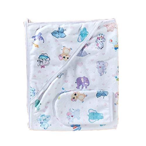 Süßes Kapuzenbadetuch aus Baumwolle - inkl. Waschlappen - mit süßem Motiv für Babys und Kleinkinder | stark saugfähiges Badetuch mit Kapuze (Elefant) (Lädt Elefanten-baby)