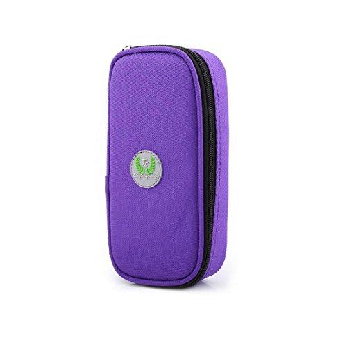 41AjiVIYDsL - Bolso portátil del refrigerador del organizador de la insulina, bolso del refrigerador del viaje de la caja del protector médico con paquete de hielo para el diabético (Púrpura + 2 Bolsas de hielo)