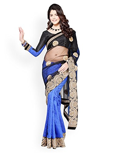 Chirag Sarees Crepe Saree in Black Blue Colour for Party Wear