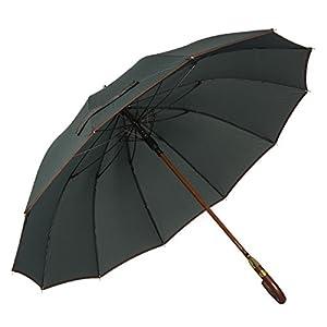 ADRIANO PORCARO® – Automatik Regenschirm für Damen und Herren – eleganter Stock-Schirm aus Holz – 12 fache Fiber Verstrebung – groß stabil & windresistent sturmfest – 115cm Ø