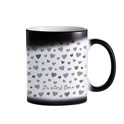 Zaubertasse aus Keramik – Farbwechslertasse für werdende Omas – Du wirst Oma – Kaffeebesser mit Thermoeffekt – Geschenkidee für zukünftige Omas