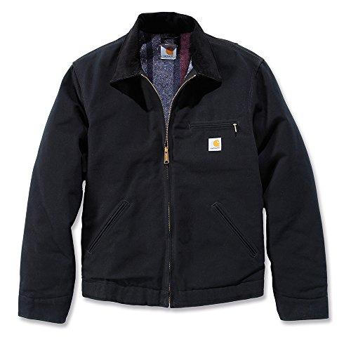 Carhartt Workwear Arbeitsjacke Duck Detroit Jacket mit Wolldeckenartigem Futter M, schwarz, EJ001 (Falten Hose Gefüttert)