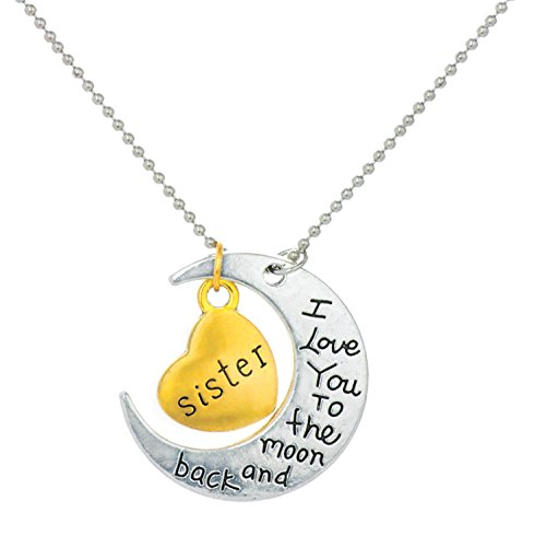 Yellow Chimes Sisters Love Special Moon Pendant in Metal for Girls and Women. Perfect Gift for Sister!