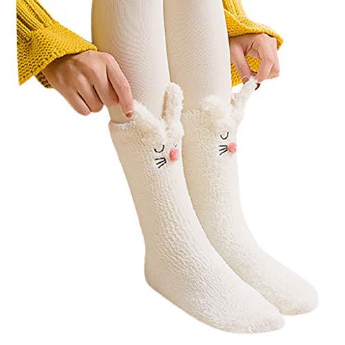 XuxMim Frauen-beiläufige feste Winter-warme Stulpen korallenrotes Fleece häkeln Socken