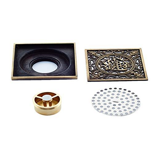 Europäische Antik Kupfer Deodorant Anti-Insekten-Balkon Waschmaschine Küche Bodenablauf Kupfer Farbe 100mm * 100mm -
