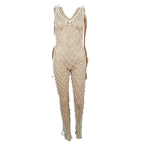 Bibao Damen Strandkleid mit Aushöhlen, Bikini, Bademode, gehäkelt, sexy, gestrickt, M, weiß, 43453