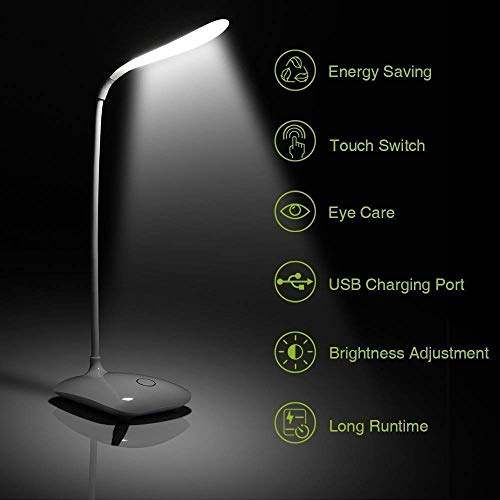 Jini Collection Rechargeable LED Touch On/Off Switch Desk Lamp Children Eye Protection Student Reading Led Table Lamps USB Charging Touch Dimmer