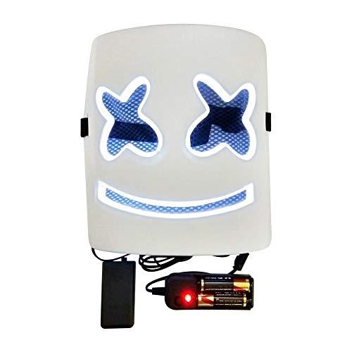 Nrkin Leuchtende Maske - Marshmallow-Kopfmaske LED Glowing Mask Cosplay Maske für Urlaub Kostüm Party Mask Music ()