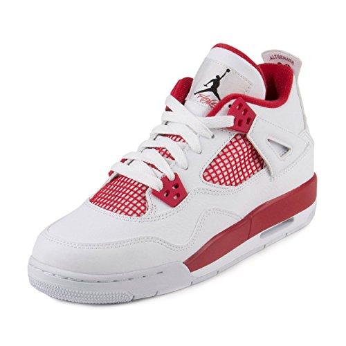 Nike Air Jordan 4 Retro BG, Zapatillas de Deporte para Niños, Blanco / Negro / Rojo (White / Black-Gym Red), 38 EU