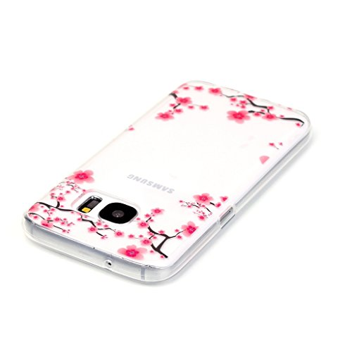 Uming® Transparent Retro bunte Muster Druck weiche TPU Fall Abdeckung Hülle Case Cover ( Dandelion - für IPhone 5S 5 5G SE IPhone5S IPhoneSE ) Silicone Silikon Shell Schutz Handy-Fall Cellphone Case Plum flower