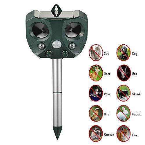 ZEERKEER Ultrasonidos Ahuyentador de Animales y Plagas Repelente Ultrasónico con LED,Carga Solar,para Exterior, Resistente al Agua,Repelente de Gatos para Ratas, Perros, Gatos, Aves, Zorros y Otros