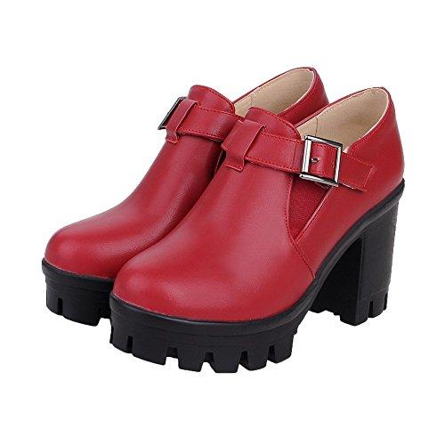 VogueZone009 Damen Schnalle Hoher Absatz Pu Leder Rein Pumps Schuhe Rot