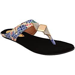 Le Fete Women's Black Flat Sandals -38