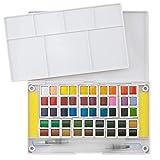 Boîte de Peintures Aquarelles Ezigoo pour Artistes, Étudiants ou Amateurs – Boîte de Peinture Aquarelles 48 Couleurs