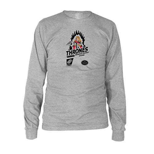 GoT: Medieval Fantasy System - Herren Langarm T-Shirt Grau Meliert