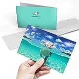 Biglietto di auguri (A5) - maialino da nuoto con animale, divertente biglietto di auguri di compleanno per bambini, feste per ragazzi e ragazze #8098