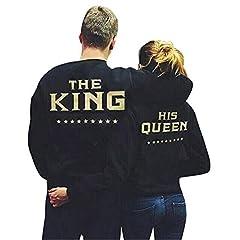 Idea Regalo - COCO clothing Coppia Felpe Donna Uomo King e Queen Maglia a Manica Lunga Casual T-shirt Tops Autunno Nero Camicetta Camicie (QUEEN, M)