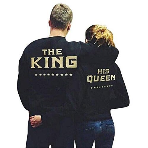 Haroty Pull de Couple Impression Star King Queen Col Rond à Manches Longues Casual Sweat-Shirt Tops Queen
