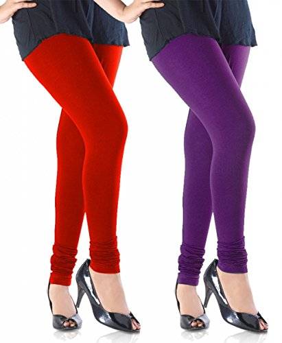 M.G.R.J Women\'s Cotton Lycra Churidar Leggings Combo (Pack of 2 Red, Purple) - Free Size