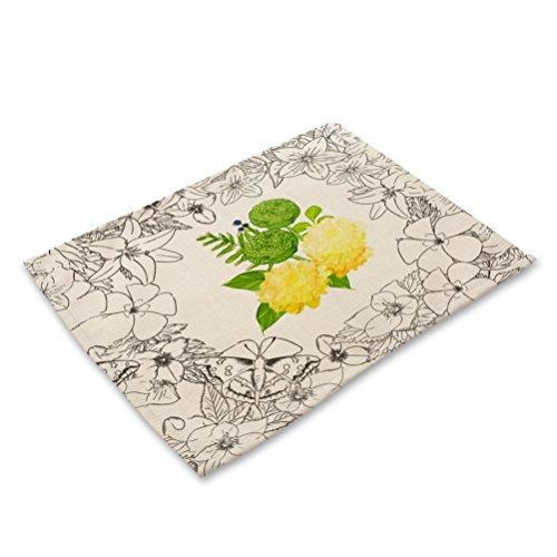 Eazyhurry Jaune Imprimé fleurs en coton et lin lavable Sets de table antidérapant Isolation thermique Tapis de table de salle à manger pour tasses à thé Sets de table pour chemin de table de cuisine 41,9 x 32 cm