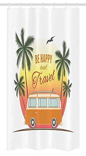 ruichangshichengjie Surf Stall Shower Curtain, Retro Surf Van with Palms Camping Relax Hippie Travel Be Happy Free 60s Theme, Bathroom Decor Set with Hooks, 60 x 72 inches inches, Orange Green Yellow