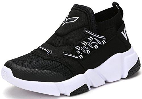 Jungen Mädchen Mesh Sneaker Outdoor Athletic Unterhose auf Beiläufig Laufen Schuhe (Kleinkind/Kleines Kind/Großes Kind-Schwarz-EU38)