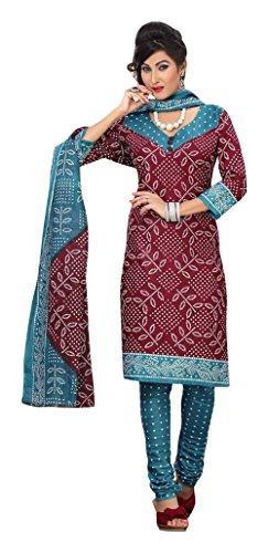 Nellai Sarees Women's Cotton Unstitched Dress Material (Maroon)