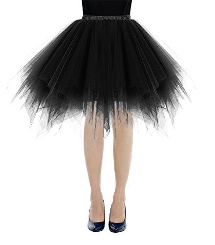 Bbonlinedress Kurz Retro Petticoat Rock Ballett Blase 50er Tutu Unterrock Black M