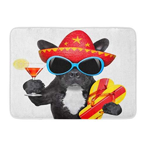 cher bunter Sommerhund mit Martini-Glas und mexikanischem Hut Bulldog Beach Badezimmer-Dekor-Wolldecke ()