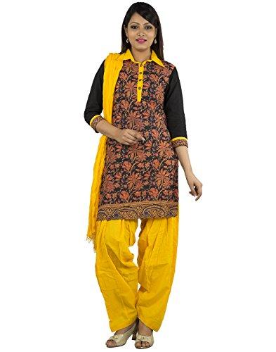 Jaipur Kurti Women's Cotton Black And Yellow Complete Set Of Salwar Kurta And Duptta
