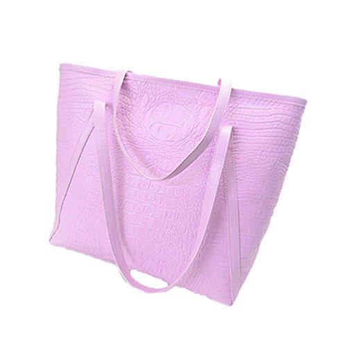 Albeey PU-Leder Handtaschen Damen Taschen Tote Umhängetasche Pink