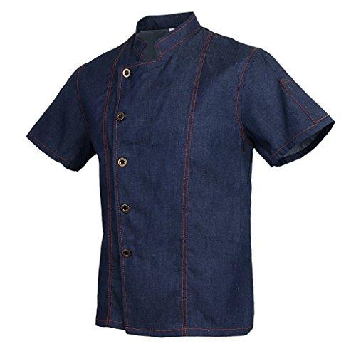 Homyl Männer Frauen Denim Kochjacke Knöpfe Bäckerjacke Gastronomiebekleidung Kochhemd Arbeitskleidung für Koch Köche - Blau, XL