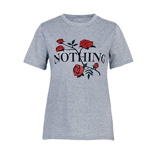 ESAILQ Nothing Rose Printing Sommer Lose Tops Kurzarm Bluse T-Shirt (S, Grau)