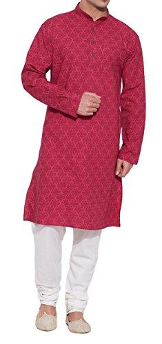 ShalinIndia Männer Baumwoll Lange Kurta Nehru Kragen 3 Taschen, M-CLK34-1022, Magenta, Größe-34-Zoll