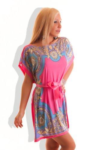 Motif fleurs d'été pour femme Motif chauve-souris pour femme mini robe ou haut Papillon ceinture pour femme style bandage fin-cocktail Party Kit pour les vacances Noir - Rose