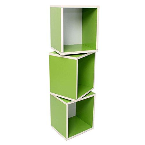 PEGANE Lot de 3 étagères Cube tournante Standrega, 120 cm, Coloris Vert