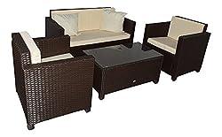 Jet-Line Garden furniture Garden Lounge set Seats Cannes brown Rattan Lounge Polyrattan Garden equipment brown Terrace Balcony Furniture Sofa Armchair Table Poly Rattan Weather resistant Seating