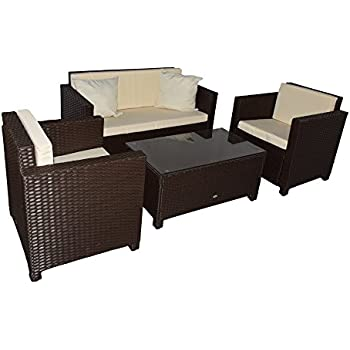 Amazon.de: Gartenmöbel Garten Lounge Sitzgruppe Rattan Cannes brown
