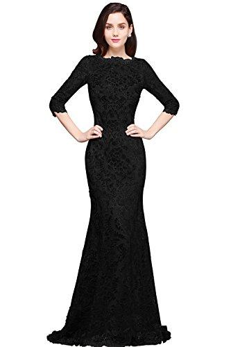 Damen Hochwertig Lang Ballkleid,Lang Abschlusskleid,Abendkleid,Lang Abendkleid,Schwarz Gr.40