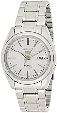 Seiko 5 Men's White Dial Stainless Steel Automatic Watch - SNKL